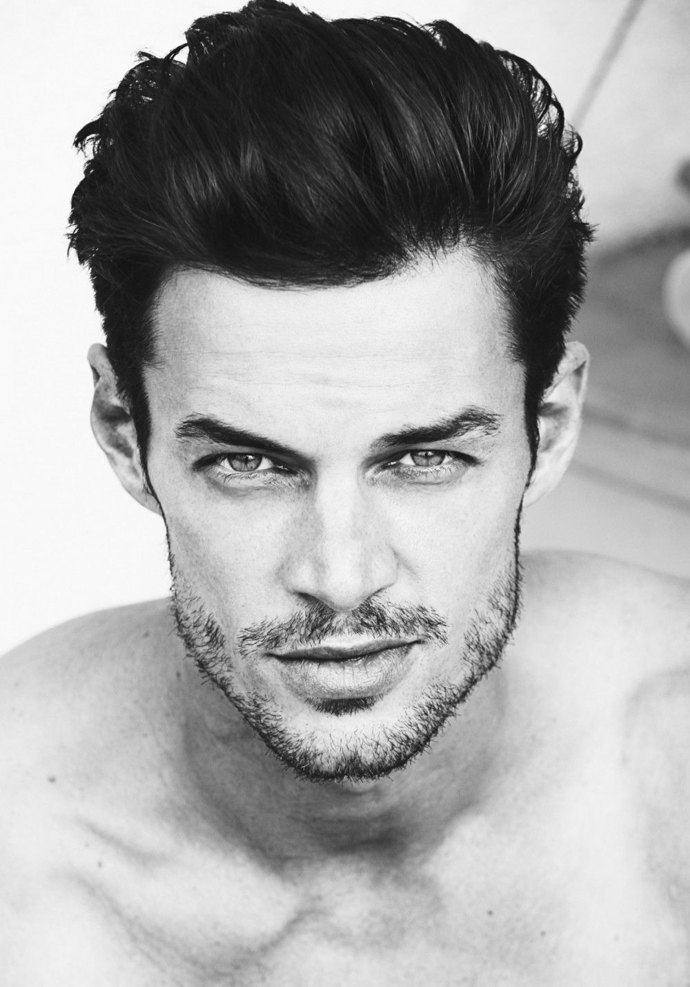 Long Black Hair Male Models With Grey Eyes Google Search
