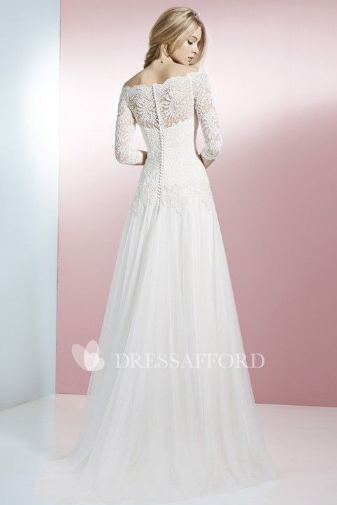 b3aef0ed8f Off-the-shoulder Lace Long Sleeve Wedding Dress With Pleated skirt