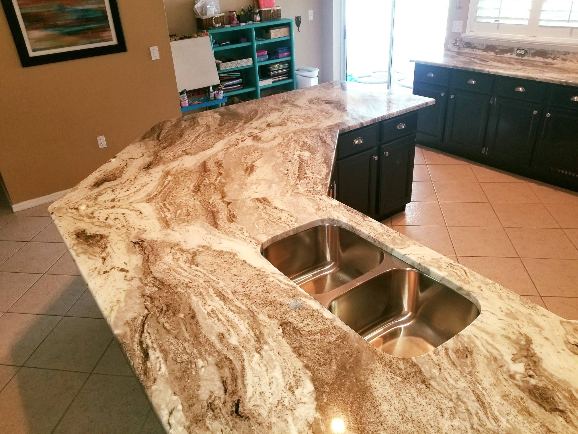 Beautiful Galley Shaped Kitchen Countertop Made By Using Fantasy