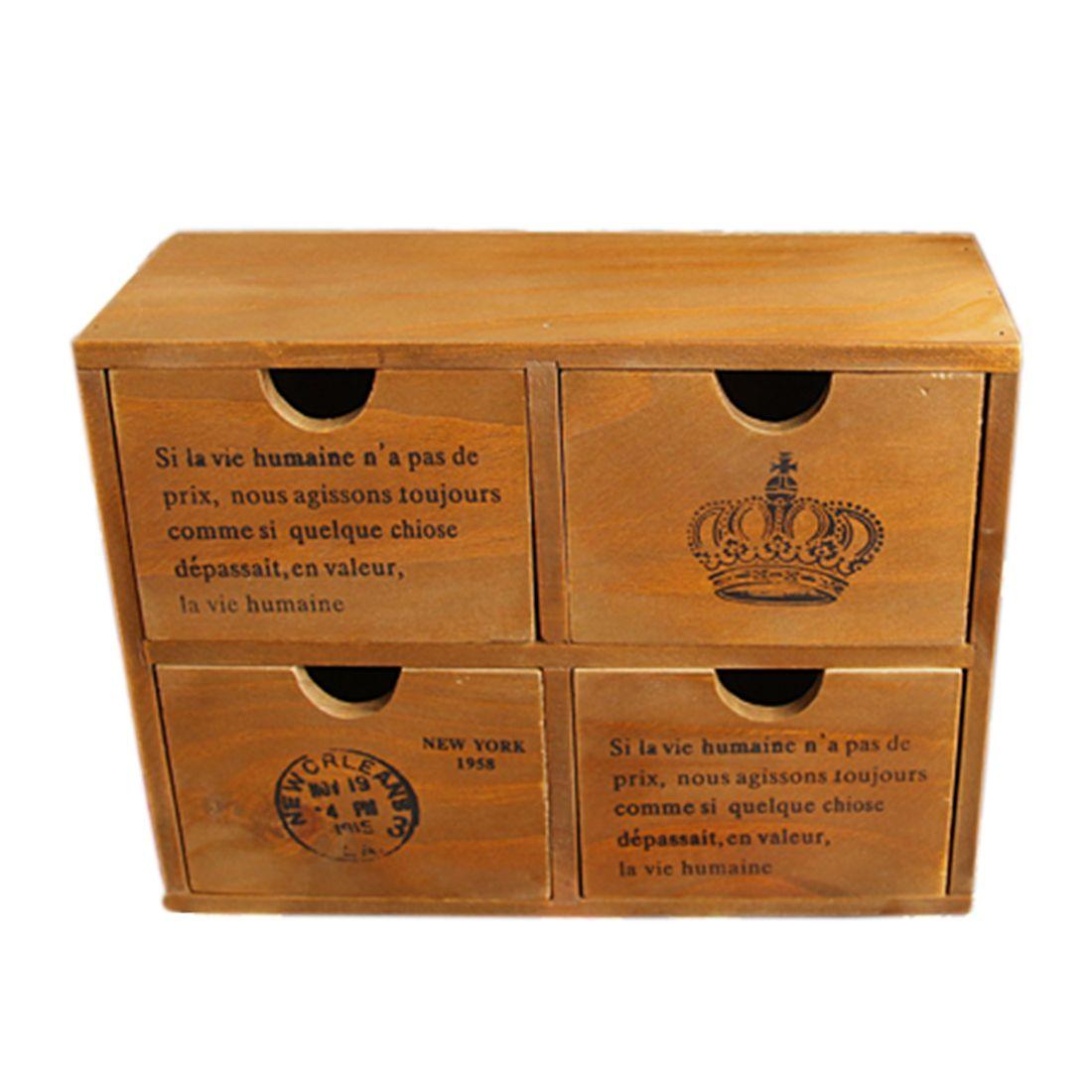 Retro Design Household Essentials 4Drawer Zakka Wooden Storage