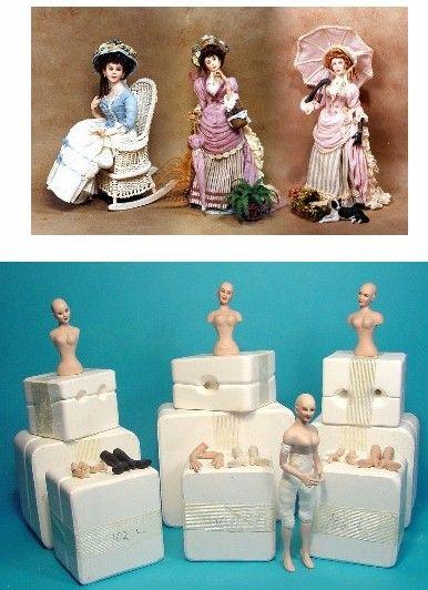Dollhouse Miniature 5 Clay Little Girls in Light Blue Dress Figurine Home Décor