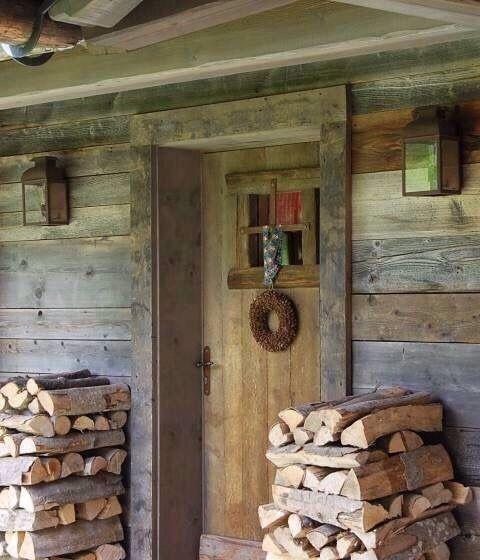 Rustikale Hütten, Haus Aus Holz Und Chalet Design