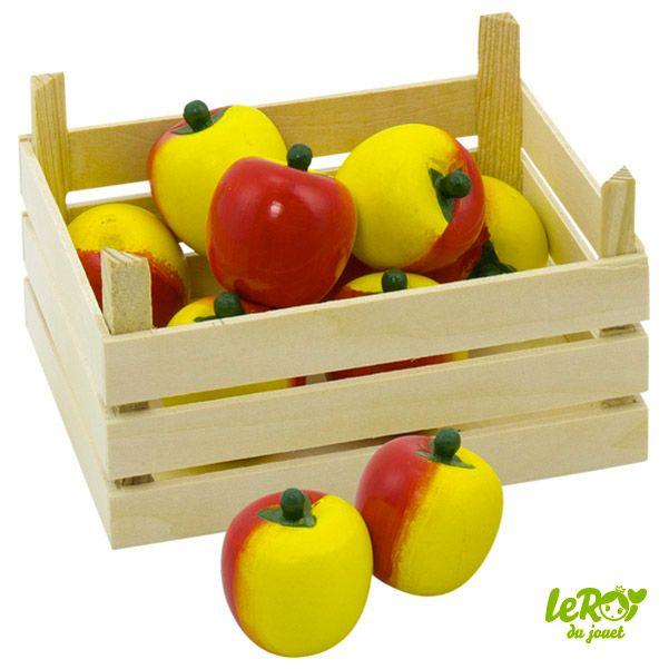 cagette de pommes en bois pour jouer la marchande leroy. Black Bedroom Furniture Sets. Home Design Ideas
