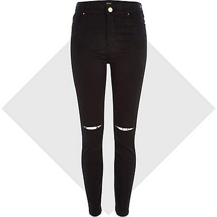 Black ripped knee Lana superskinny jeans