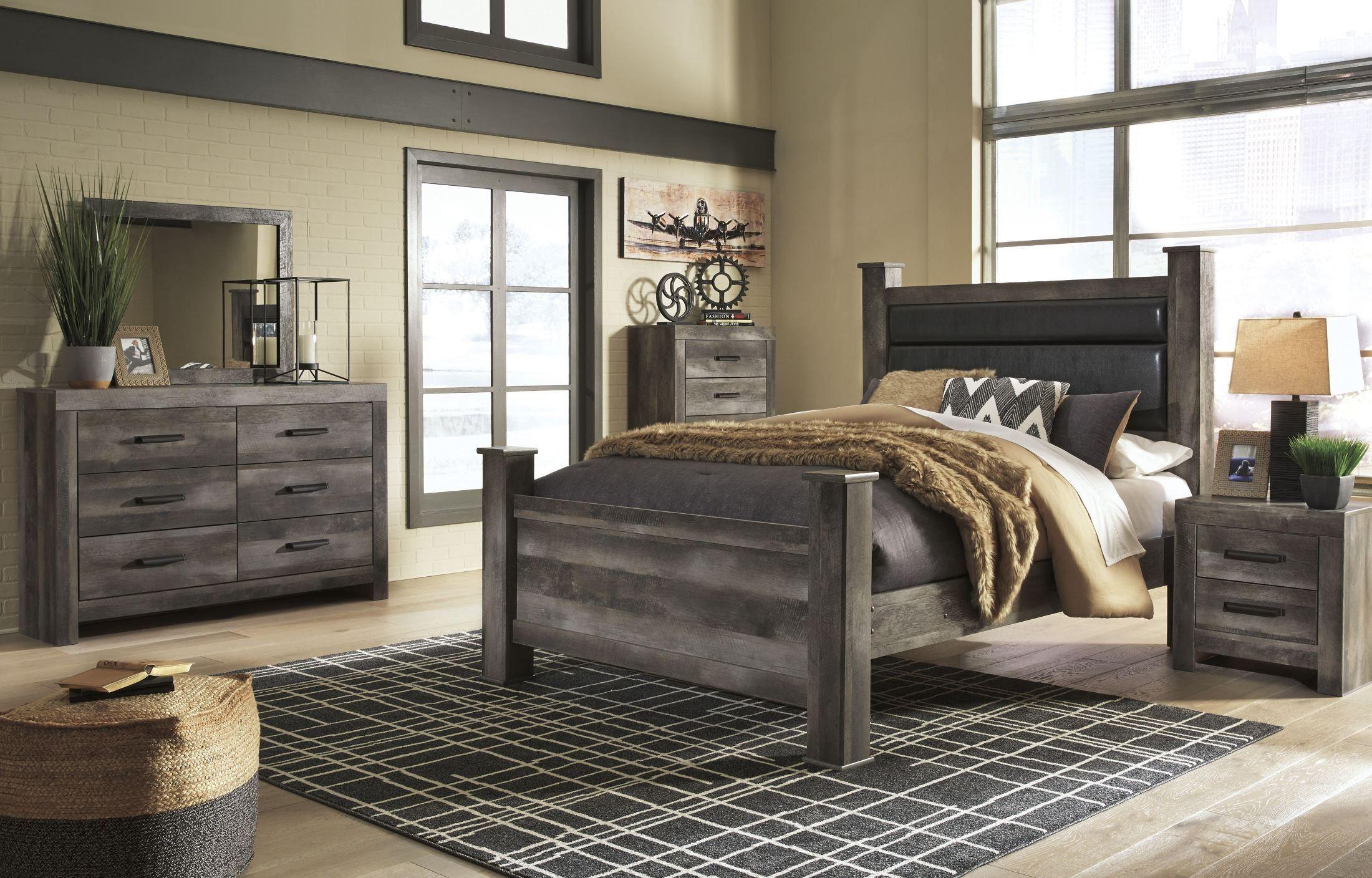 Wynnlow Gray Upholstered Poster Bedroom Set Bedroom