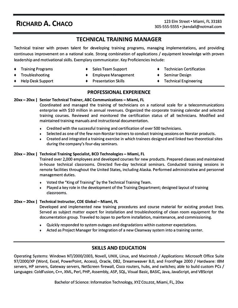 Information Technology Resume Template Personal Trainer Resume Should Explain An Expertise Area Of The