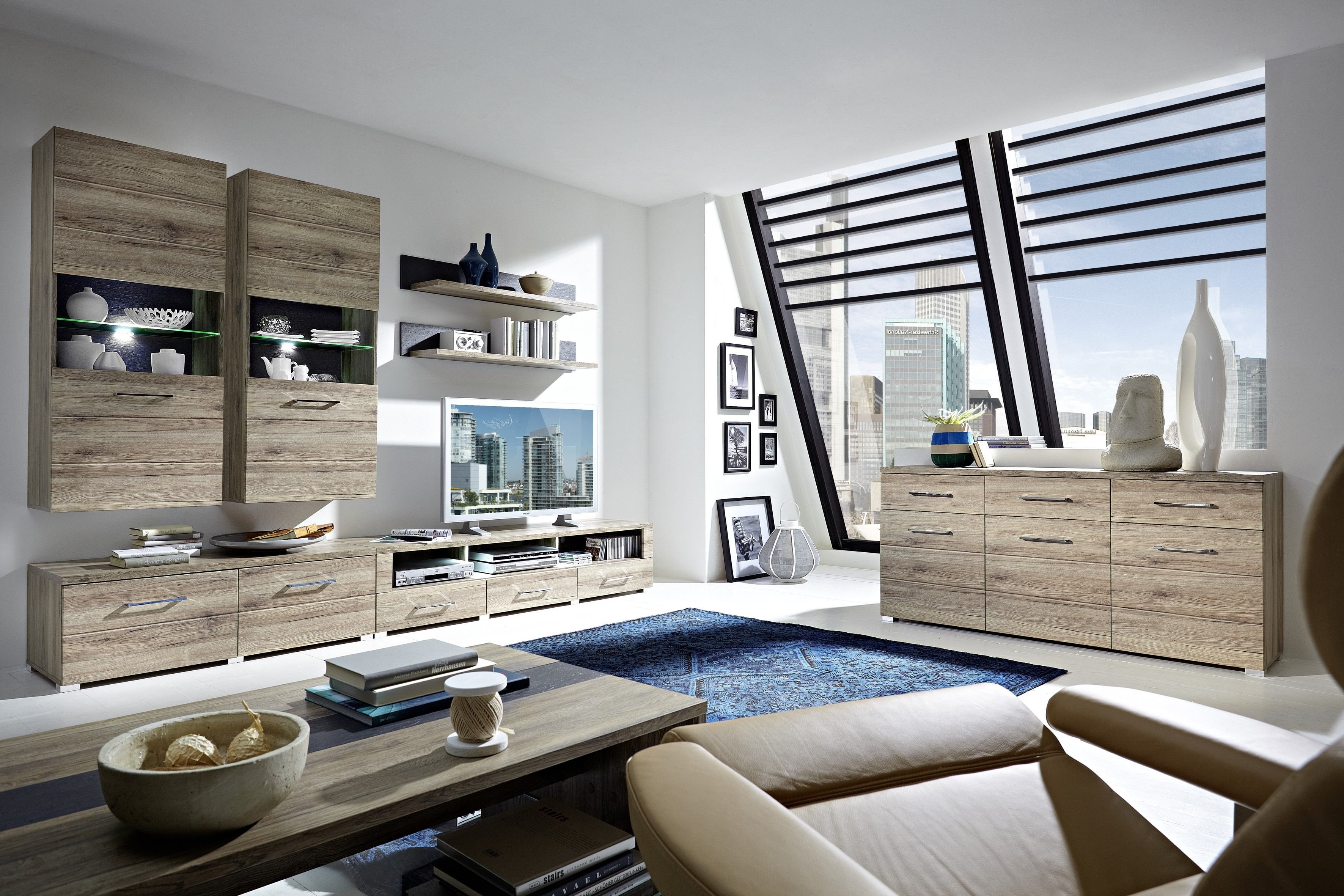 Wohnzimmerwand Holz ~ Wohnwand mit sideboard san remo eiche schiefer woody 22 00453