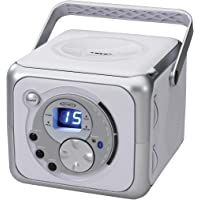 Jensen CD-555 White/Silver CD Bluetooth Boombox Portable Bluetooth Music System with CD Player +CD-R/RW & FM Radio with Aux-in & Headphone Jack Line-In