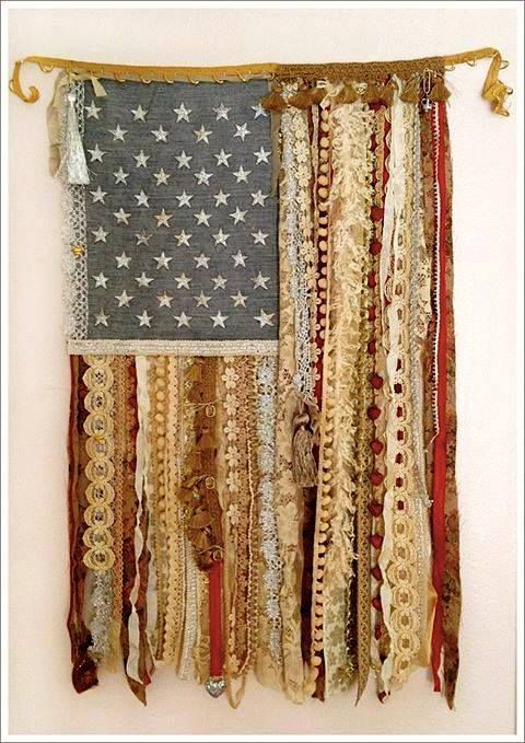79067597d46 American Flag With Stars and Vintage Lace   Ribbon Stripes fun idea for the  4th of July party.. )