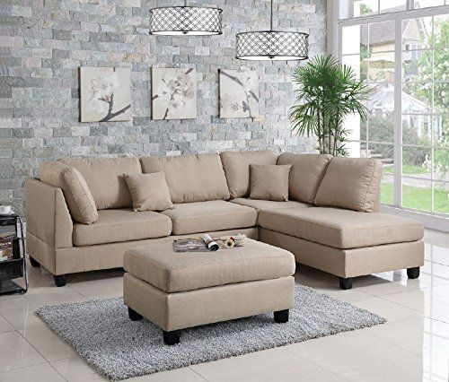Amazoncom Modern Contemporary Polyfiber Fabric Sectional Sofa and