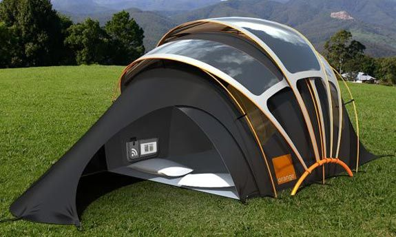 This High Tech Solar Tent A Vision Of The Future Designed By Orange Is Constructed From Photovoltaic Fabric Coated F Solar Powered Tent Solar Tent Cool Tents