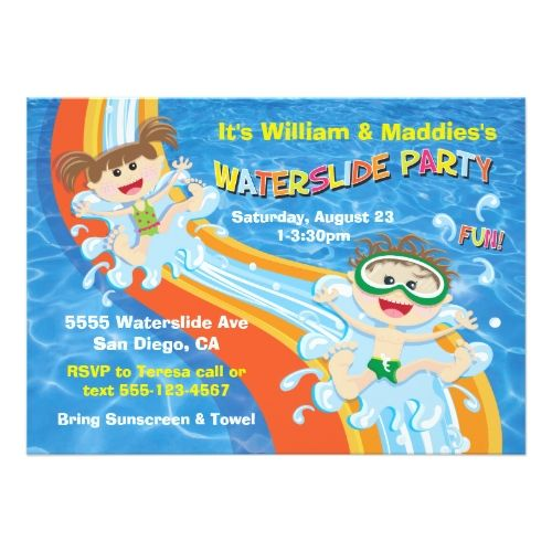 Pool Party Invitations Boy And Girl Waterslide Pool Party Birthday
