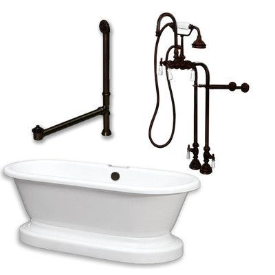 Features:  -Faucet model: CAM684.  -Freestanding supply line: 398.  -Drain and overflow: CAM1900LTB.  -No faucet drillings.  -Lightweight.  -Defined contours.  Finish: -White.  Material: -Acrylic.  Ca