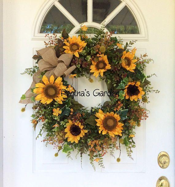 Summer Door Wreath Sunflower Wreath Fall Wreath Front Porch
