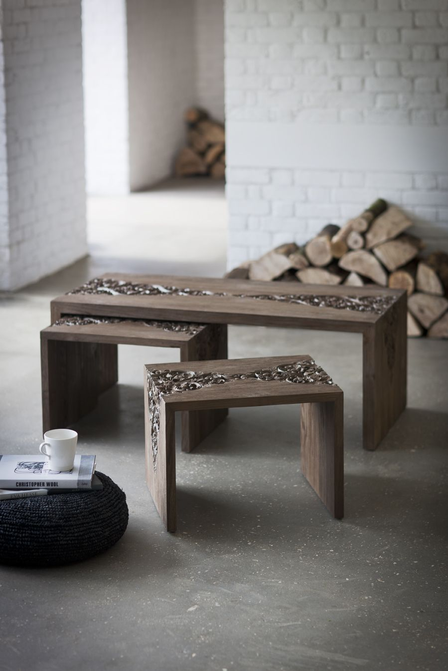 The elegant and beautifully carved Vastu nest of tables from Trunk