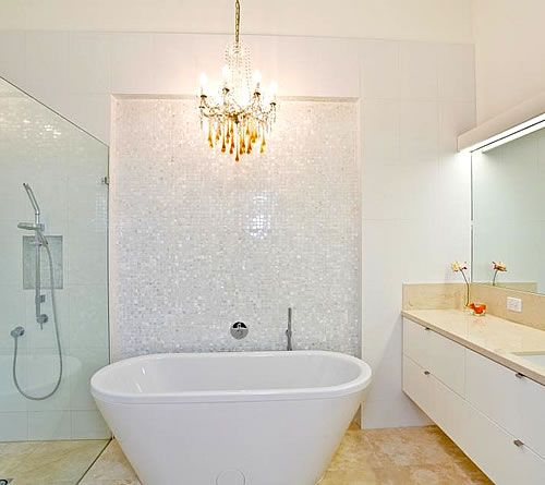 White Mosaic Tiles Bathroom - tips for how to install penny tile