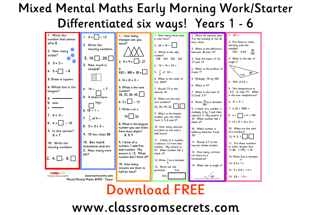Classroom Secrets Differentiated Resources That Are Engaging Meaty And Worthwhile Mental Math Teaching Math Mastery Maths