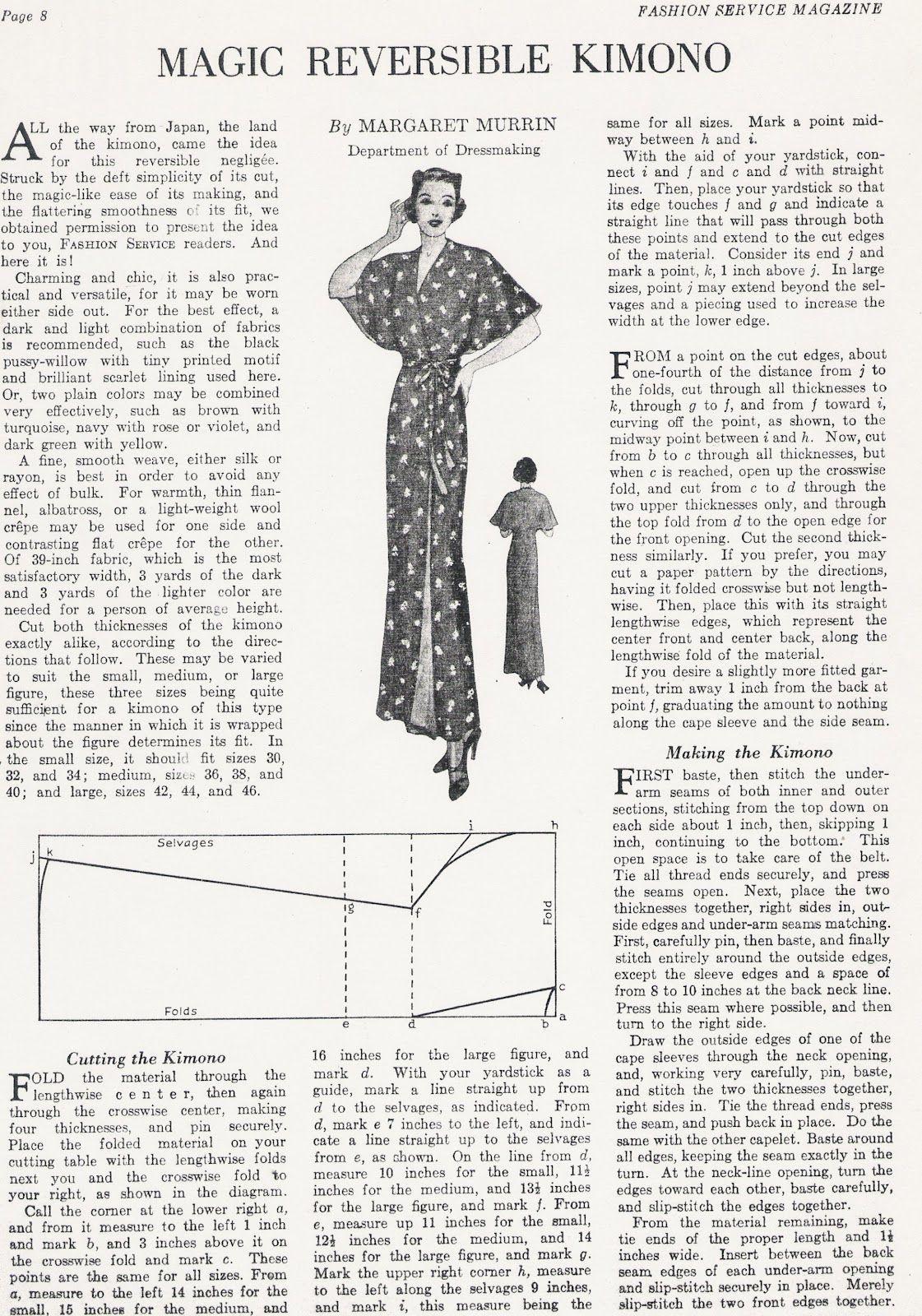 Швейные Vintage: Магия Реверсивный кимоно | Шить легко | Pinterest ...
