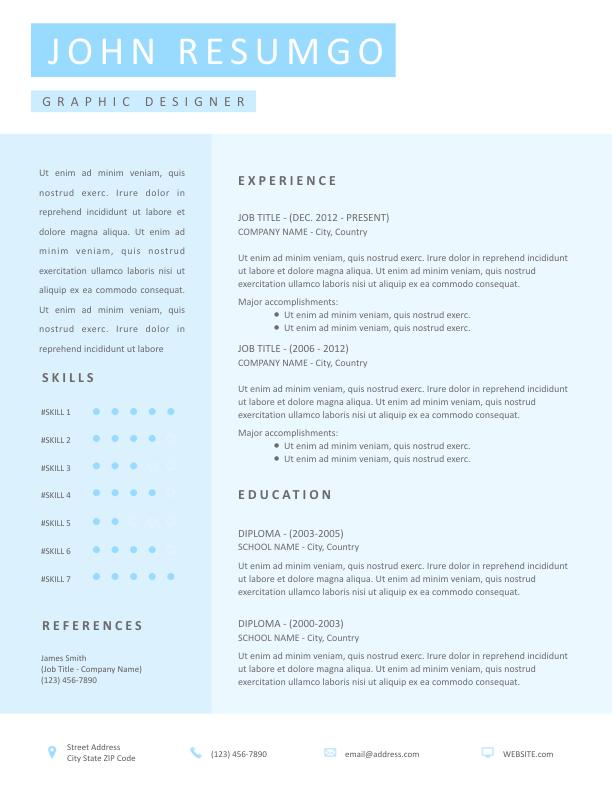 Wixo Elegant Blue Resume Template Resumgo Com Resume Template Modern Resume Template Resume