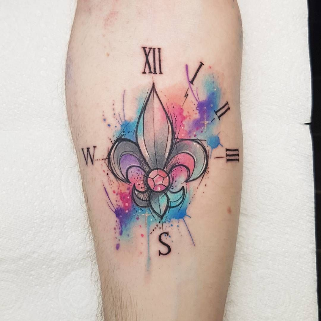 Watercolor fleur de lis tatoo pinterest - Tattoo tribal fleur ...