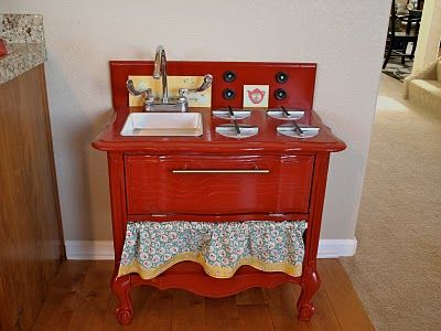 Childrens play kitchen, made from an old night stand!  http://sixinthesuburbsblog.blogspot.com/