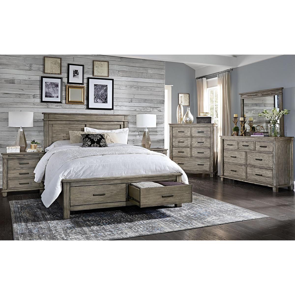 Best Glacier Point 4 Piece King Bedroom Set In Grey Stone 400 x 300