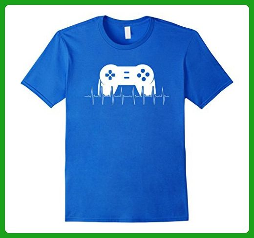 Mens Heartbeat Video Game T-Shirt Large Royal Blue - Gamer shirts (*Amazon