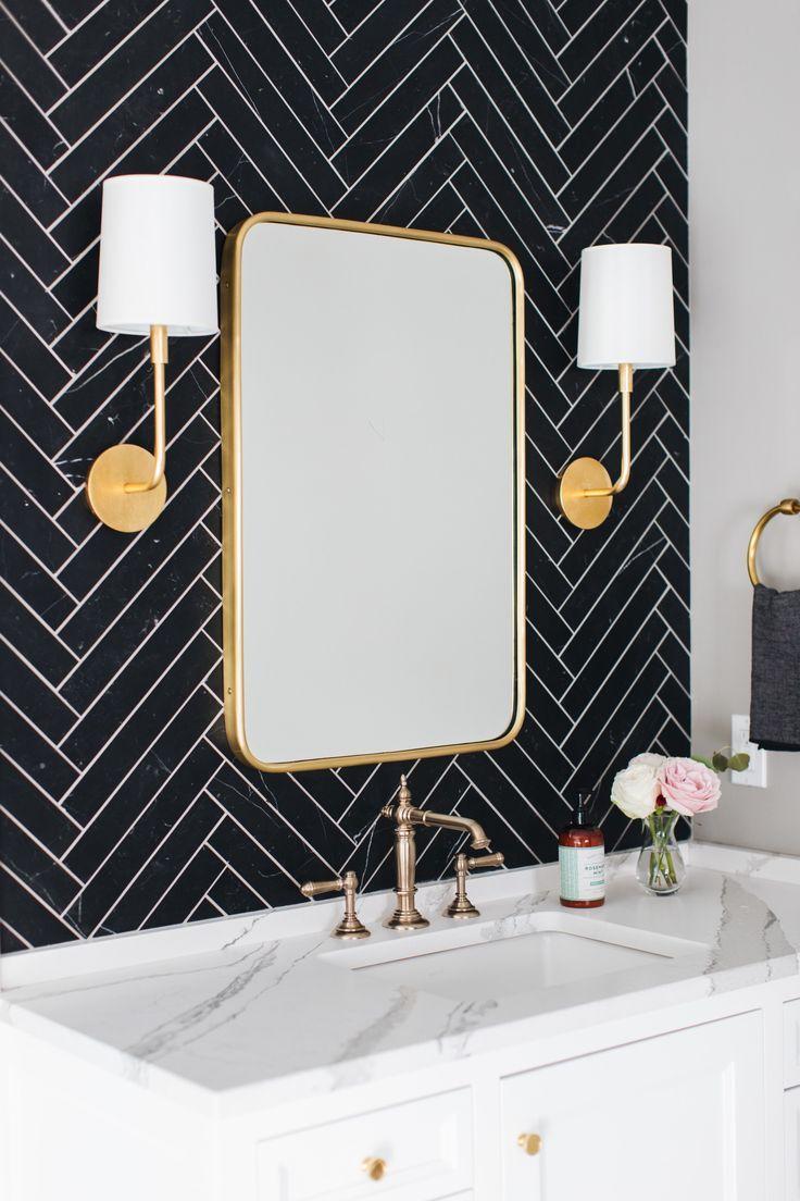 Bathroom Black Herringbone Tile White Cabinets Marble