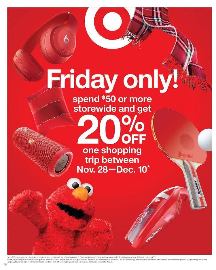 Target Black Friday Spend 50 Get 20 Off Later Black Friday Target Black Friday Black Friday Ads