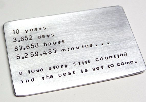 10 Year Anniversary Wallet Card Insert Ten Tin Year Gift Idea Husband Man Gift Love Note Message Card Wallet Insert Card 10 Year Anniversary Gift One Year Anniversary Gifts