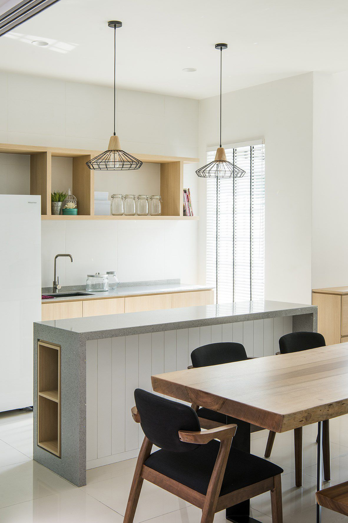 Dry kitchen a beautiful combination of white, grey and wood grain ...