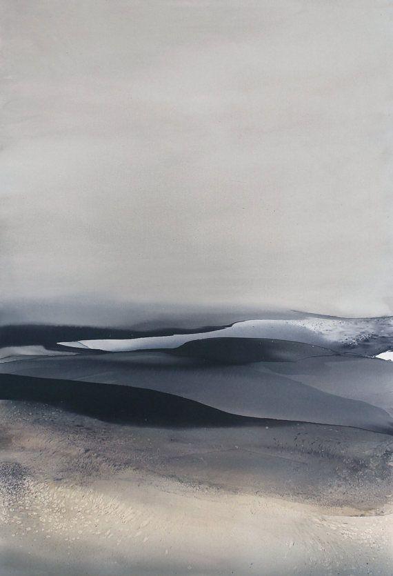 Grande Aquarelle Paysage Art Abstrait Noir Et Blanc Paysages