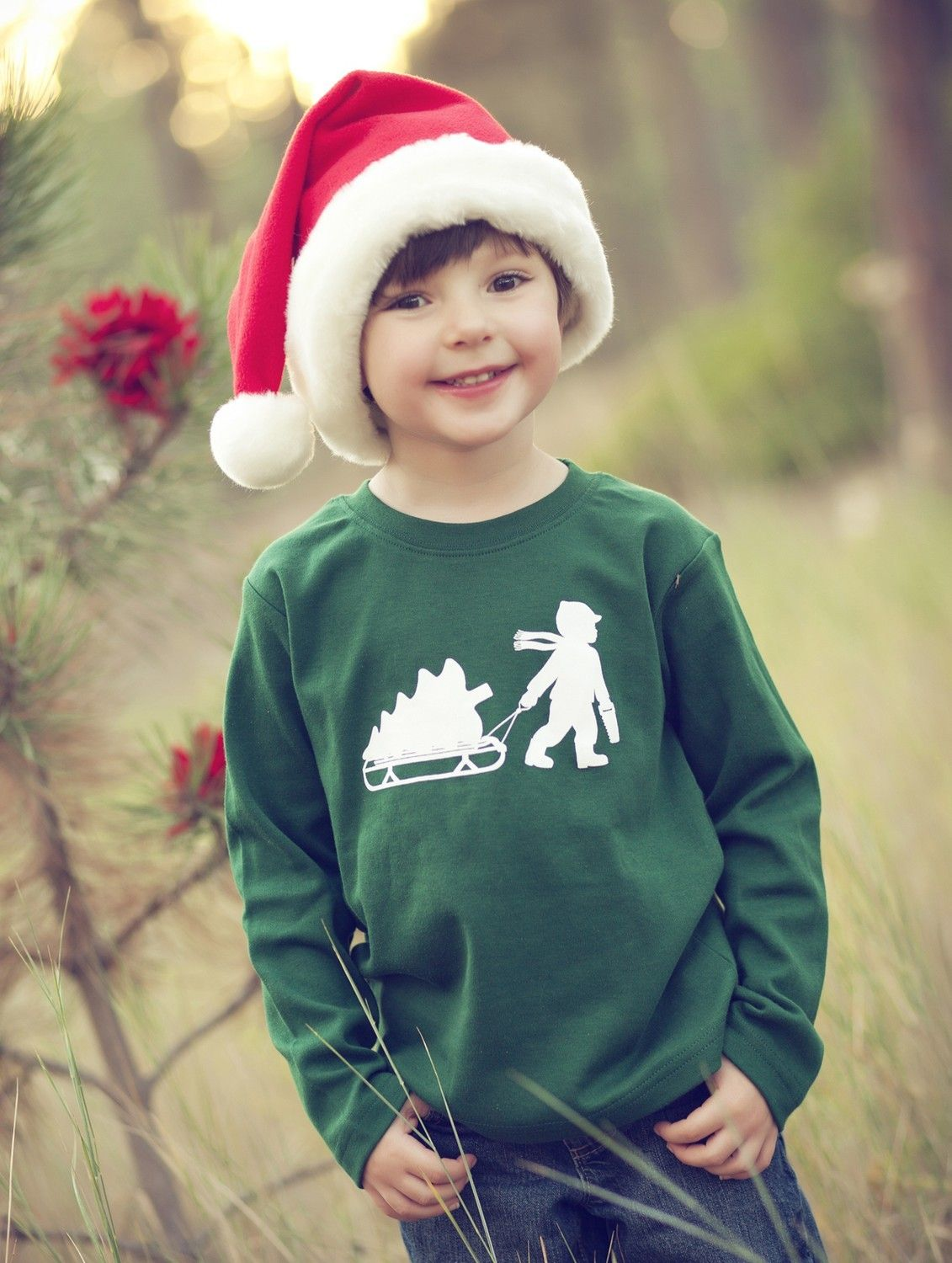 Little Woodsman Long Sleeved Nostalgic Graphic Tee in Forest with White. $22.00, via Etsy.