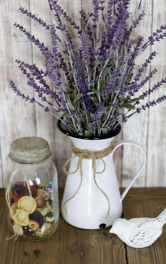 Photo of Farmhouse Lavender Arrangement, French Country Arrangement Kitchen Decor Rustic Decor, Primitive Decor Rustic Arrangement Gift for Her