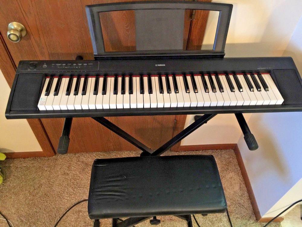 Yamaha Piaggero Np11 61 Key Digital Piano With Adjustable Stand And Bench Yamaha Digital Piano Piano Yamaha