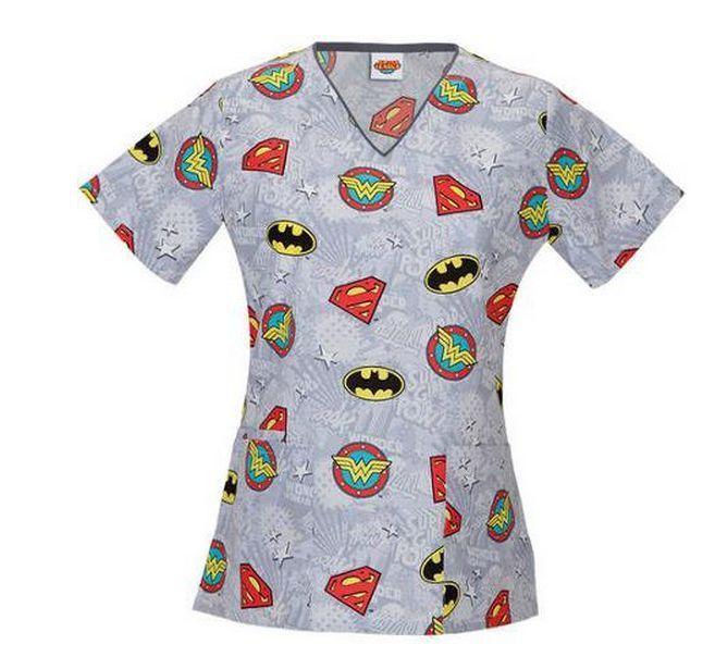 d686dc4cba2 Nurses Scrubs Top DC COMICS WONDER WOMAN Superman Batman XS S M L XL 2XL  3XL  DCComics  NursesScrubTopVNeck