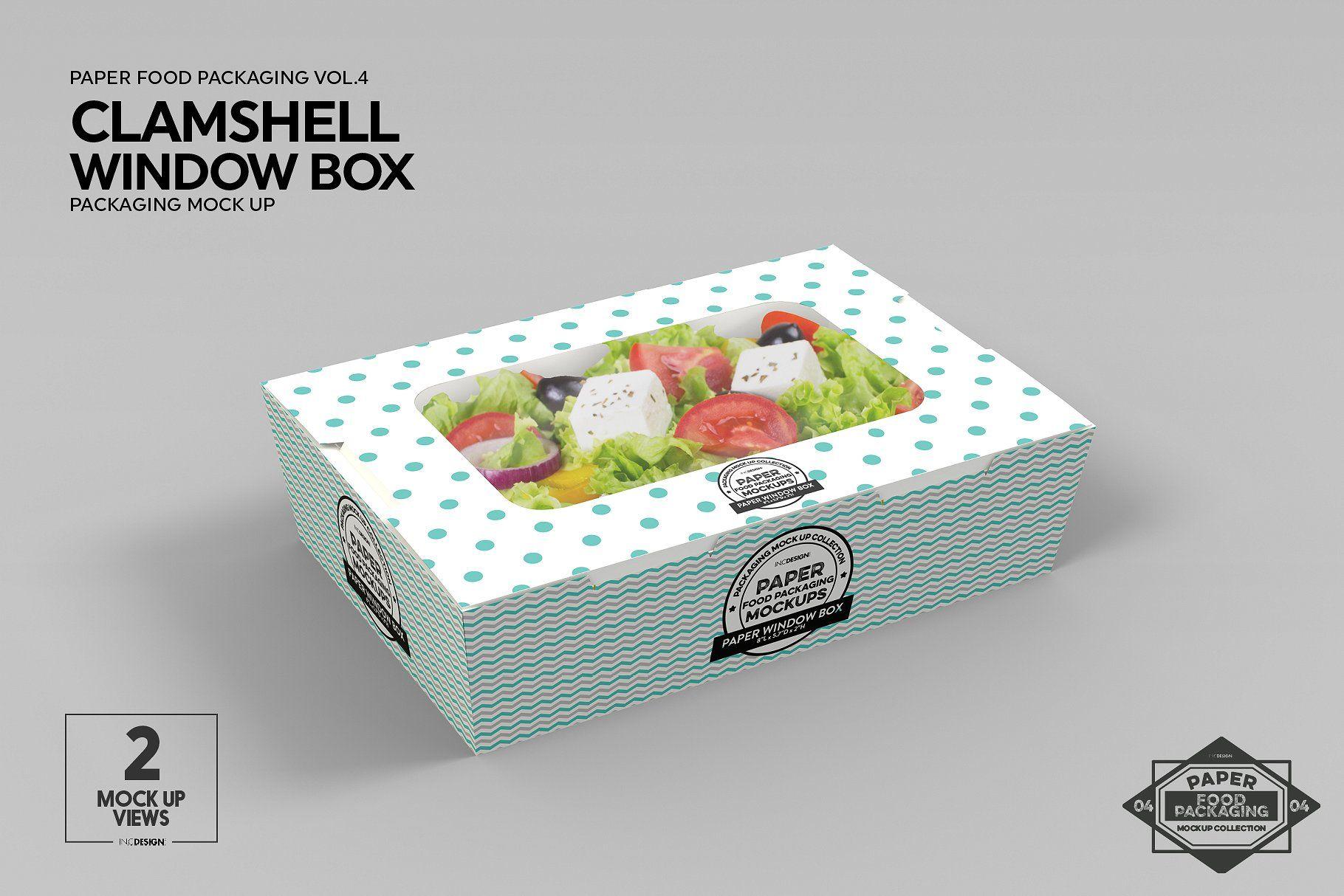 Download Clamshell Window Box Mockup Free Packaging Mockup Box Mockup Food Box Packaging