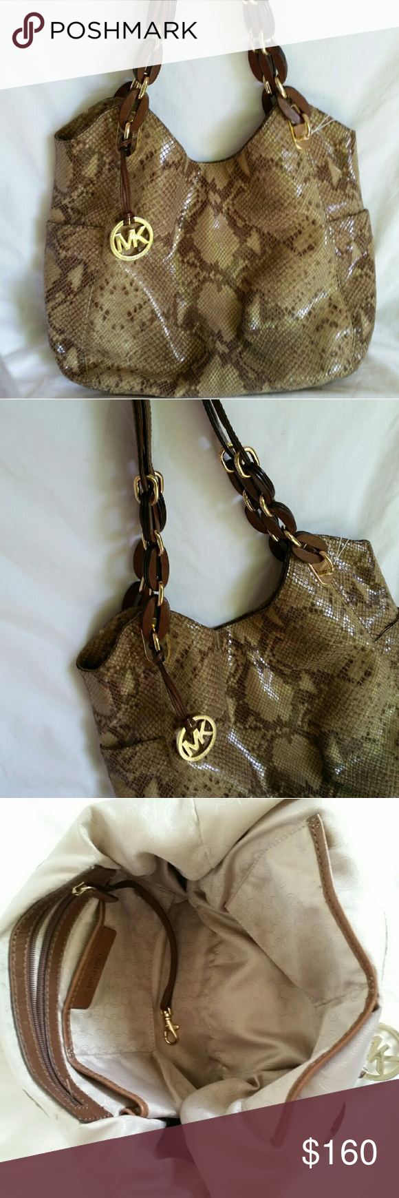MICHAEL KORS Python Sand Lilly Tote Bag Authentic MICHAEL
