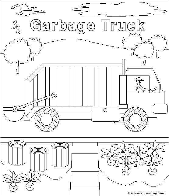 Garbage Truck Template Garbage Truck Truck Coloring Pages