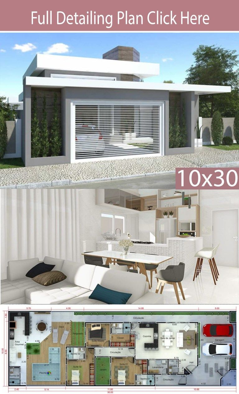 Home Design 10x30m With 3 Bedrooms Home Design With Plan House Design House Plans Mansion Modern House Plans