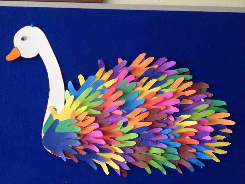 الورق الملون أعمال فنية بالورق الملون التعليم المرح Spring Crafts For Kids Spring Crafts Handprint Crafts