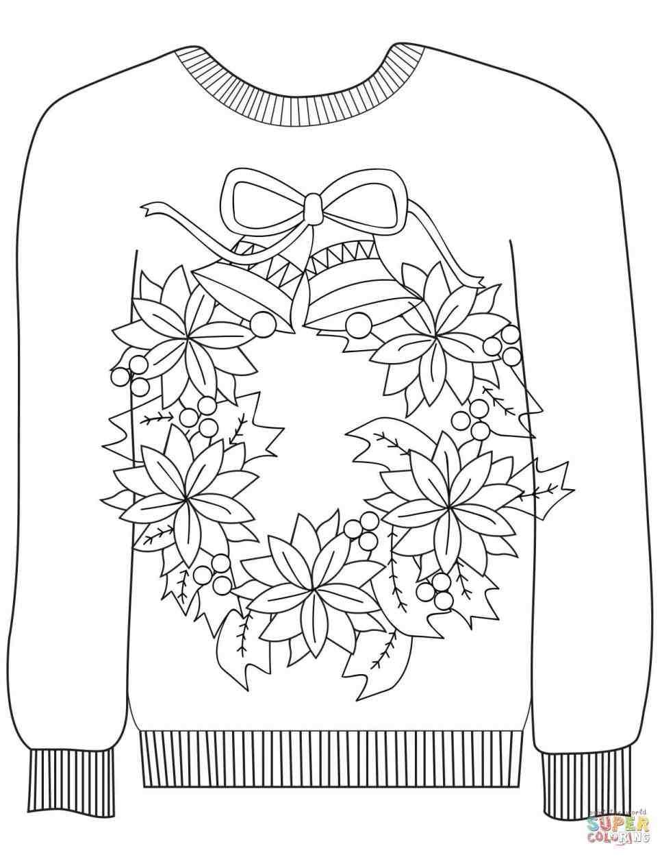 christmas sweater printable Christmas coloring sheets
