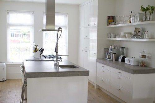 Mooie witte keuken met betonnen werkblad van site vt wonen keuken