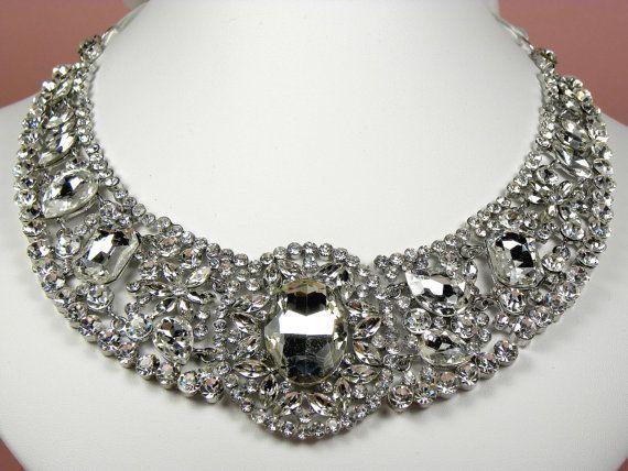 bridal rhinestone statement necklace wedding jewelry ribbon tie necklace wedding statement necklace wedding accessories