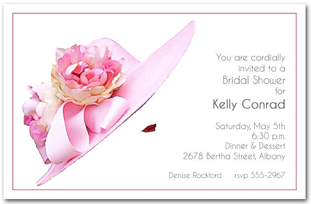 Stunning Floral Pink Hat Party Invitations from Announcingit – Bridal Shower Invitations Tea Party Theme