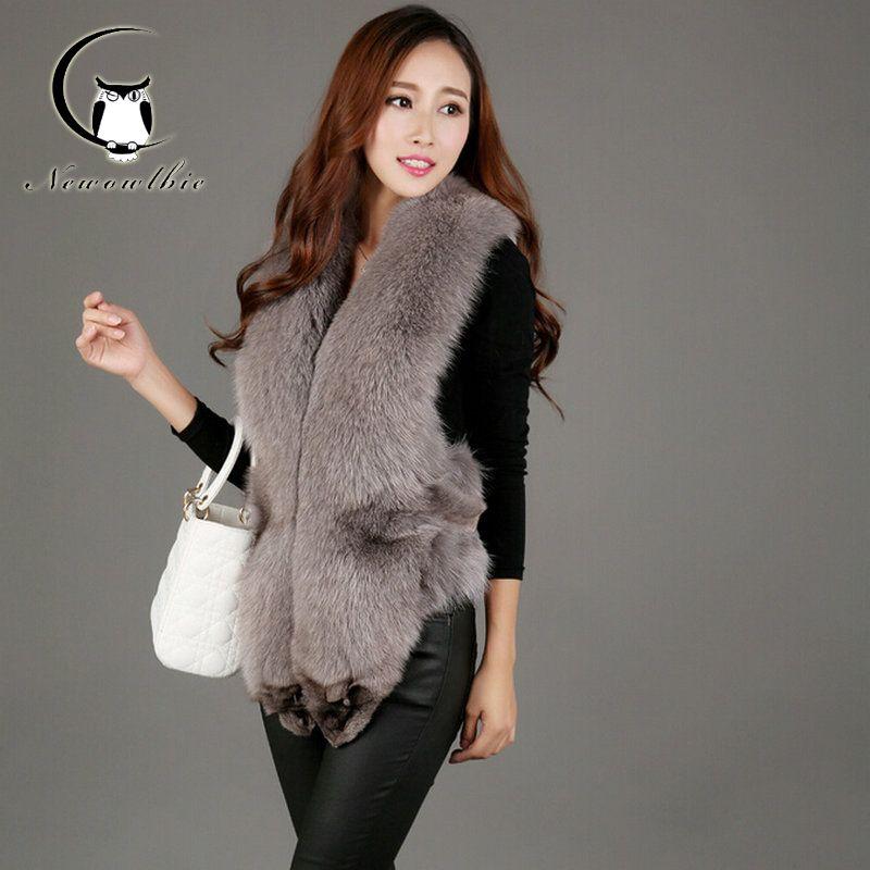 2016 Genuine Vest Women Natural Real Fox Fur Vest Women Winter ...