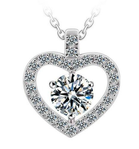 crystal heart necklace short necklace for girl gift for. Black Bedroom Furniture Sets. Home Design Ideas