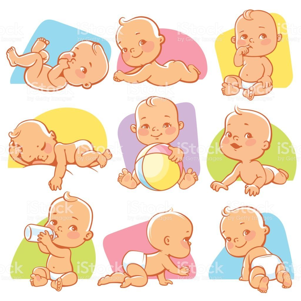 Cute Little Baby Girl Or Boy In Diaper Child In Different