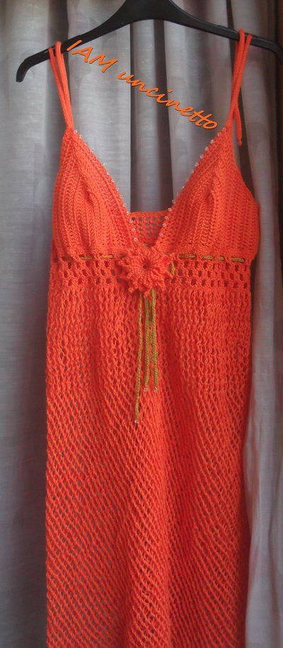 Abito mare, copricostume, 100% cotone, lavorazione uncinetto e ferri.  Crochet & knitting dress, Orange coverup, Fishnet beach dress.
