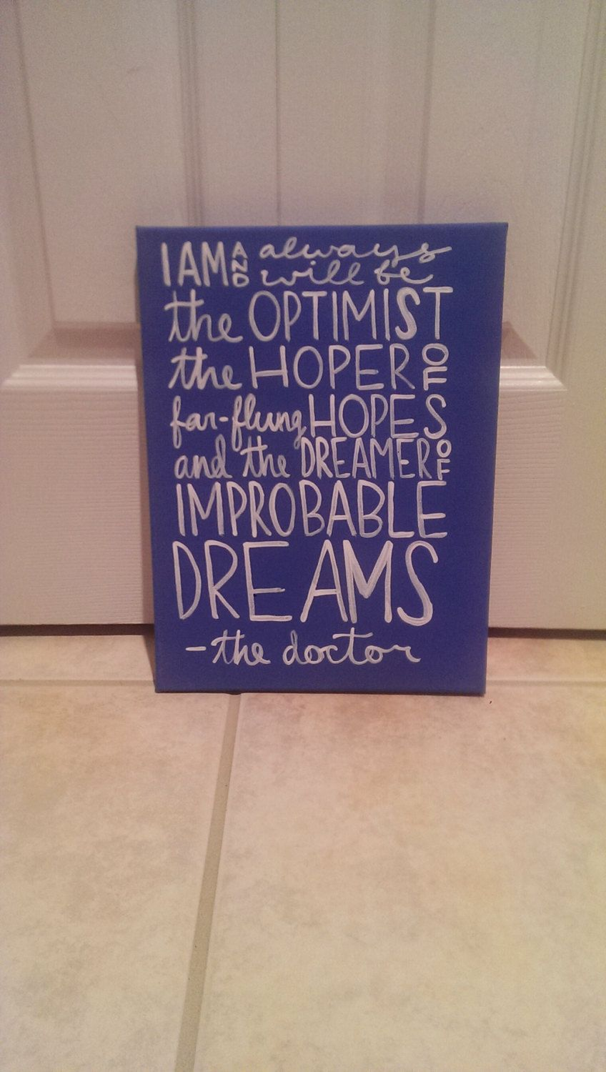 Doctor Who the Optimist Canvas Quote Art by QuotesOfNote on Etsy, $18.00